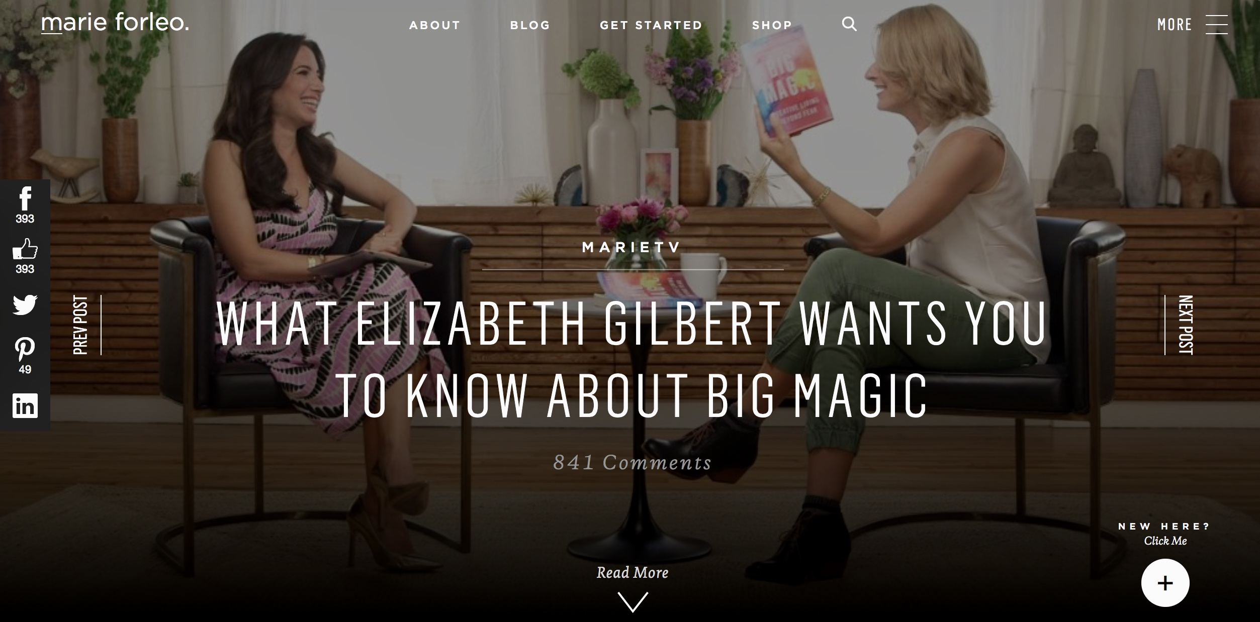 Marie Forleo TV: WHAT ELIZABETH GILBERT WANTS YOU TO KNOW ABOUT BIG MAGIC